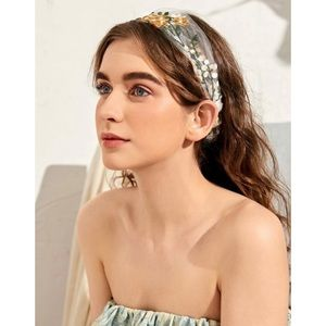 Accessories - Gold / White / Green Floral Embroidered Headband
